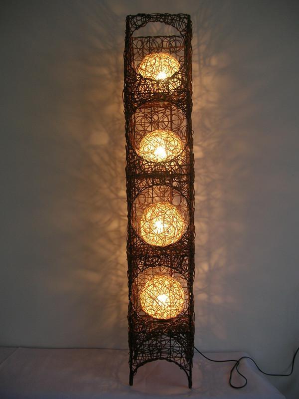 Rattan Floor Lighting Lite Source Evangeline Rattan Globe Steel Arc