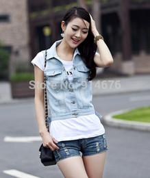 venta al por mayor en caliente nuevos jeans chaleco sin mangas mujer denim chaleco chaquetas estilo coreano cortos chalecos para mujer envo gratis