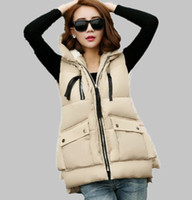 Wholesale Thick Girls Clothing - Wholesale-New 2015 thick women vests With a hood female autumn and winter thickening Camouflage down cotton vest girl vest ladies clothing