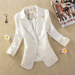 Wholesale Blazer 14 - Wholesale-New Womens Ladies Stylish Lace Suit Coat Jacket Blazer Size 6 8 10 12 14 16