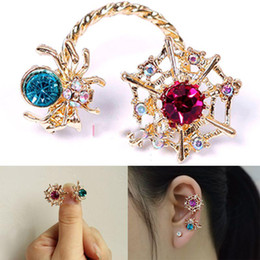 Wholesale Ear Cuff Bling Wholesale - Wholesale-MiniSale Fashionable! Fashion New Bling Colors Crystal Rock Punk Spider Ear Wrap Cuff Women Stud Clip Earring Underspend!