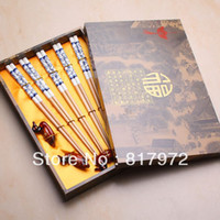 Wholesale Chopsticks Duck Holders - Wholesale-23cm 5 pairs bamboo white lucky flower print cutlery chopstick duck holder box set Chinese characteristics free