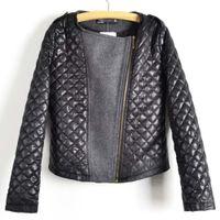 Wholesale grey zip jacket - Wholesale-2015 Bestselling Autumn Women's Fashion Cool Long Sleeve Coat Quilted Asymmetric Zip Jacket Black Grey color WF-5342
