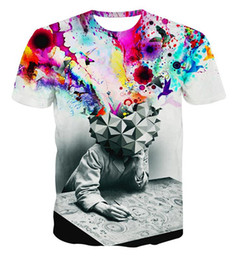 Wholesale purple abstract - Wholesale-Alisister new fashion The Thinker Printing Abstract t-shirt Unisex Women Men Casual 3d t shirt for men women harajuku tee shirt