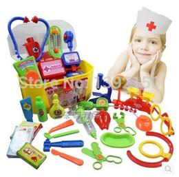 Wholesale Medicine Instrument - Wholesale-Kids Simulation Doctor Pretend Play Set Toy Medicine Box Chest Kit Instruments Nurse Children Baby Playsets Free shipping
