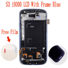 Wholesale Digitizer Frame Galaxy S3 - Wholesale-100% original 4.8 inch LCD Screen Digitizer With Frame For Samsung Galaxy S3 III i9300 Blue Color