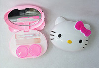 Wholesale Contact Lenses Case Mirror - Wholesale-Cartoon Hello Kity Design Contact Lens Box Case Holder Container Case For Lenses With Care solution Mirror Wearing stick
