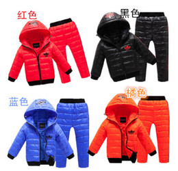 Wholesale Baby Geese - Wholesale-Wholesale 6 Color Winter Warm Children Suits New Baby Boys Girls White Duck down Suits Coat + Pants Fashion Kids Brand Clothing