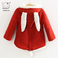 Wholesale Cherries Coat - Wholesale-Baby Girls Wool Sweater With Rabbit Ears And Cherry Children Outwear Girls Winter Lambs Sweet Cute Girls Coat