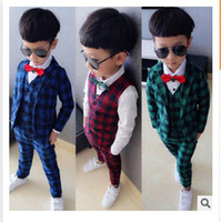 Wholesale Tench Piece Clothing - Wholesale-Children's clothing 2015 spring boys suit set cotton three pieces jacket, vast and pants plaid fashion suits boy triangle
