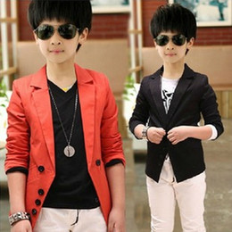 Wholesale Kids Blazers Boys - Wholesale-Blazer Casual Style 2015 New Design Boy's Autumn Suits Solid Red Black Colors with Notched Collar Handsome Kids Clothes