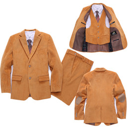 Wholesale Tench Piece Clothing - Wholesale-Corduroy Blazer suit for Boys Formal dress Kids Blazers Jackets set Children Wedding suit 3 Piece Clothing set Baby clothes