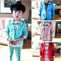 Wholesale Tench Piece Clothing - Wholesale-2015 children's clothing child candy color suit 2 piece set male child blazer outerwear set