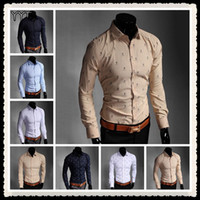 Wholesale New Shirts Patterns For Men - Wholesale-Free Shipping 2015 New Arrival Mens Dot Ship Pattern Cotton Dress Shirt Men's floral shirts Designer Shirts for Men Top Brand