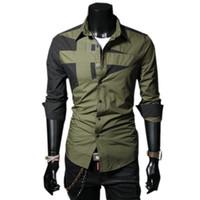 Wholesale Bingo Shirts - Wholesale-Bingo Free shipping 2015 new men's individual splicing long-sleeved shirt men's casual dress shirt BG-F7107