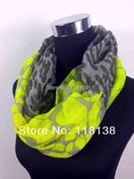 Wholesale Neon Scarfs - Wholesale-Neon Color Leopard Print Infinity Scarf Snood Women's Party Event Accessories Gift for Her, Free Shipping