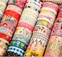 Wholesale Gifts Tape - Wholesale-Free shipping 10pcs Lovely Kawaii Cartoon Adhesive Tape Washi Scrapbooking PVC Sticker Gift