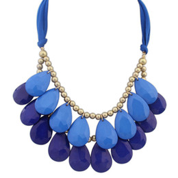 Wholesale Big Chunky Bubble Necklace - Wholesale-New 4 color hot Arrival big gem necklaces& pendants Trendy fashion bubble bib choker chunky statement necklace women jewelry