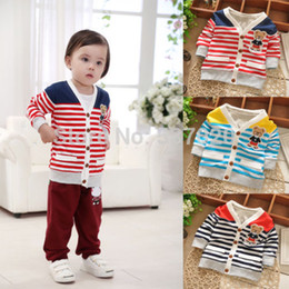 Wholesale Baby Outer Coat - Wholesale-2015 Kids Baby Kids Infants Outwear Jacket Cotton Bear Print Stripe Coat Outer Wear 1Y