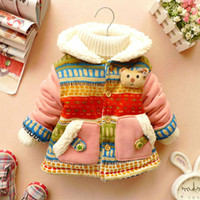 Wholesale Girls Coat Bohemia - Wholesale-Hot 2015 Baby Girl Cute 3D Bear Bohemia Pocket Winter Warm Jacket Gown Kids Outwears Coat