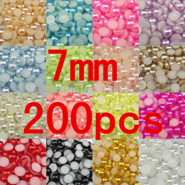 Wholesale-7mm 200pcs Craft Half Pearl Beads Flat Back pearls Embellishment DIY Nail Beauty Art Phone Shoes Clothes decarotion Pearl Beads
