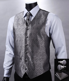 Wholesale Gray Silk Suits For Men - Fall-VE01 Gray Silver Paisley Top Design Wedding Men 100%Silk Waistcoat Vest Pocket Square Cufflinks Cravat Set for Suit Tuxedo