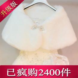 Wholesale Bridesmaid Jacket Bolero - New Faux Fur Bridal Shrug Wrap Cape Stole Shawl Bolero Jacket Coat Perfect For Winter Wedding Bride Bridesmaid Free Shipping Real Image 2016