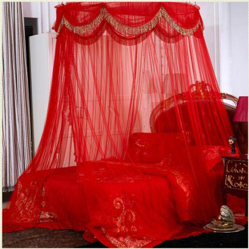 Red Luxury Ellipse Mosquito Net Bed Canopy Princess Bedding Queen