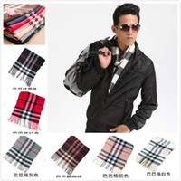 Wholesale Womens Scarf Cheap - Wholesale-Womens Mens Fashion Designer Cotton Long Multicolor Scarves Winter Autumn Striped Cheap Tassel Scarf Plaid Wholesale
