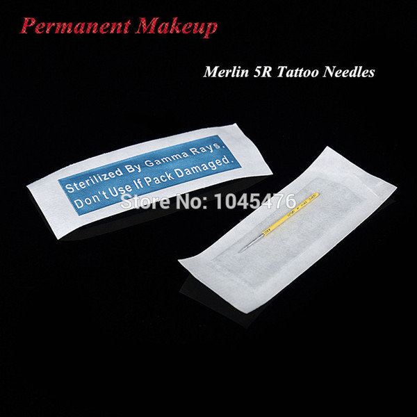 Wholesale-5R 100pcs Merlin s For Permanent Makeup Machine -Professional Eyebrow and Lip Makeup Needles Free Shipping