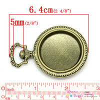 Wholesale Antique Pocket Watch Set - Wholesale-Charm Pendants Pocket Watch Antique Bronze Cabochon Setting(Fits 33mm Dia) 6.4x4.5cm,2PCs (B26674)8seasons