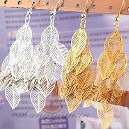 Wholesale Beaded Ear Tassels - Wholesale-Fashion Bohemian Retro Tassel Leaf Beaded Earrings Dangle Drop Shipping EAR-0324