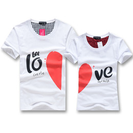 Wholesale Lover Clothes Couples - Wholesale-Fashion Summer 2015 Men Women Tops Tees Casual Lovers clothes Matching Couples Family Set Heart Love T-shirts Short Sleeve