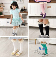 Wholesale Toddler White Lace Leggings - Wholesale-Free Shipping 1 Pairs New Kids Toddlers Girls Cotton Rich Soft Lace High Socks 5 Colour 2-8Y