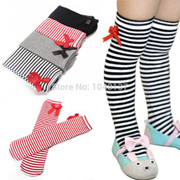 Wholesale Leggings Tights Tube - Wholesale-Cotton Kid Baby Bowknot Stripes In tube 1-8Y Girls Dress High Stocking Free Shipping