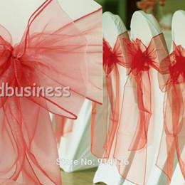 Precios de fundas para sillas de boda online-Precio al por mayor-Fatory 100pcs de alta calidad de la sandía de coral oscuro organza silla fajas arco cubierta de la boda decoración del lugar del banquete