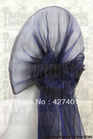 Wholesale Tie Back Chair Sashes - Wholesale-Hot Sale Navy Blue Snow Organza Chair Hoods   Chair Caps   Wrap Tie Back   Chair Sash For Wedding Event&Party&Banquet