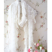 Wholesale Glove Scarf Gift Set - Wholesale-Women's Lady Polyster Embroidery Floral Lace Trim Thin Long Scarf Valentine's Gift