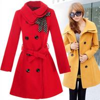 Wholesale Topcoat Ladies - Wholesale-Ladies fashion overcoat Women's Double-breasted Warm Winter Dust Coat Luxury Long windbreak Outerwear Clothes Wool Topcoat