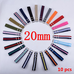 Nato Watch Straps Wholesale Canada - Wholesale-HOT 10PCS Lot 20 mm Watchband Wholesale Watches Men Nylon Nato Strap 20mm Watch Band Waterproof Watch Strap For Watch