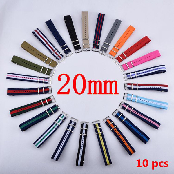 best selling Wholesale-HOT 10PCS Lot 20 mm Watchband Wholesale Watches Men Nylon Nato Strap 20mm Watch Band Waterproof Watch Strap For Watch