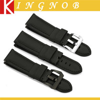 Wholesale Option Strap - Wholesale-Black Kevlar + Leather Watch Band 24mm Nylon Strap 316l S S Buckle Option Fabric Watchband for Panerai Men's watches New