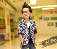Wholesale Boys Blazer Blue 12 - Wholesale-2015 New Children's Spring Casual Suits Boys Wholesale Korean Style Long Sleeve Blazers Blue And White Casual Suit For Boys