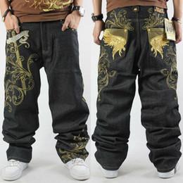 Wholesale Mens Black Spandex Pants - Wholesale-CROWN Brand Mens Denim Jean Fashion Hip Hop Gold Embroidery Rivet Black Loose Large 30-44 HipHop Pants For Man Free ShippingNew