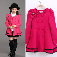 Wholesale Double Shoulder Dress - Wholesale-Girls Dress Coat Limited Long Girls Fall 2015 New Kids Windbreaker Jacket Shoulder Flower Skirt Girl Double Breasted Trench Coat