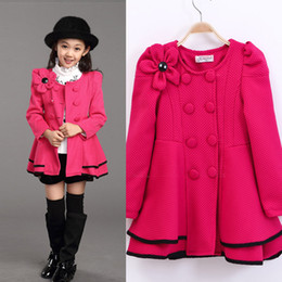 Wholesale Skirted Trench - Wholesale-Girls Dress Coat Limited Long Girls Fall 2015 New Kids Windbreaker Jacket Shoulder Flower Skirt Girl Double Breasted Trench Coat