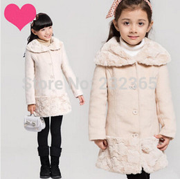 Wholesale Winter Coats Kids Luxury - Wholesale-Retail children thick outerwear girls wool coats kid girl fashion cashmere overcoat 2015 new winter luxury trench coat age 4~15