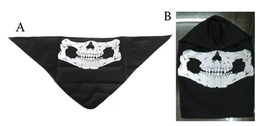 Wholesale Triangle Scarves Men - Wholesale-Free shipping Face mask Half Face Seal Skull Bandana Kerchief Ghost Mask Triangle Scarf Men Hat Black