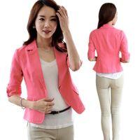 Wholesale Korea Womens Coat - Wholesale-Korea Womens 3 4 Sleeve One Button Suit Jacket Coat Outwear OL Short Tops