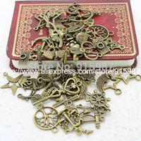 Atacado-60-80pattern Mixed 100pcs <b>Assorted Carved Charms</b> Pendants Beads Metal Alloy Pandent Plated Antique Bronze Diy Bead